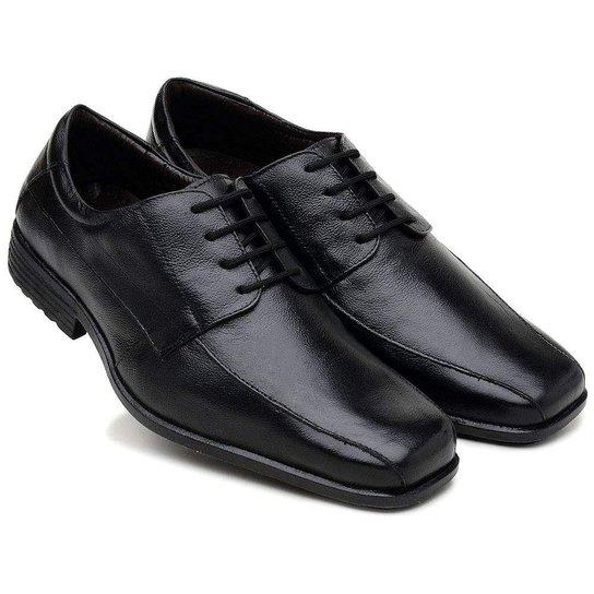 4b9056c727 Sapato Gallipoli Masculino Couro Legítimo com Cadarço Bico Quadrado - Preto