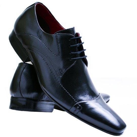 2c3e21b55 Sapato Social Paulo Vieira Com Cadarço Solado de Couro Masculino 405 - Preto