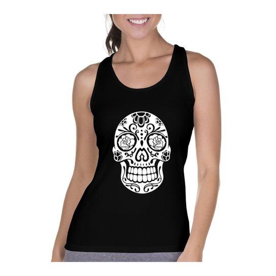 Camiseta Regata Criativa Urbana Cavada Caveira Mexicana Rosas - Preto 2c9a9fbecb8