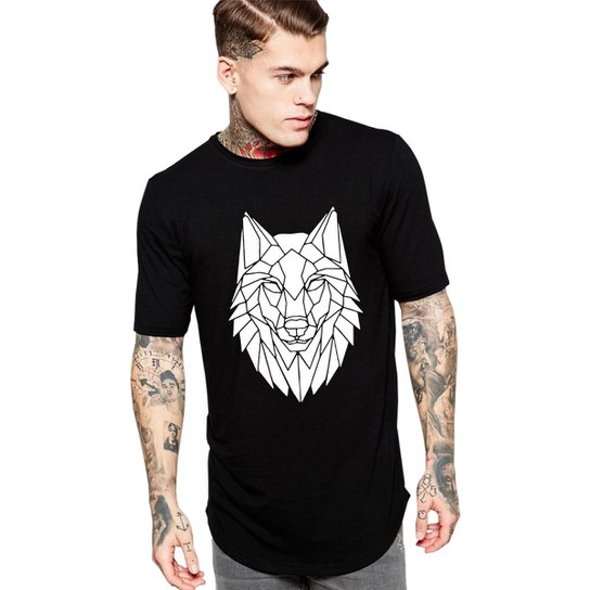 71c4ce6033981 Camiseta Criativa Urbana Long Line Oversized Lobo Tribal - Preto ...