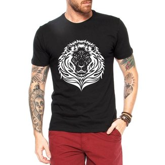 636874e939 Camiseta Criativa Urbana Leão Tattoo