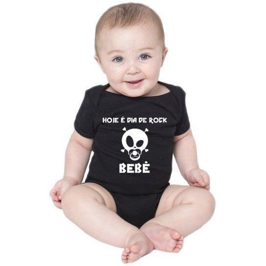 Body Criativa Urbana Bebê Frases Engraçadas Dia De Rock Bebê Preto