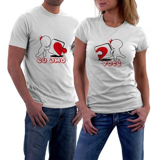 48ac57b3937 Kit 2 Camisetas Criativa Urbana Eu Amo Você Namorados Amor Casal - Preto