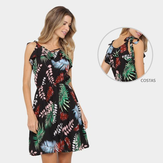 0a942ab56 Vestido Lily Fashion Evasê Curto Estampado   Zattini