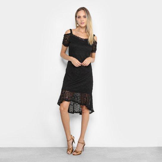 f7e32f612 Vestido Lily Fashion Peplum Midi Renda - Preto | Zattini