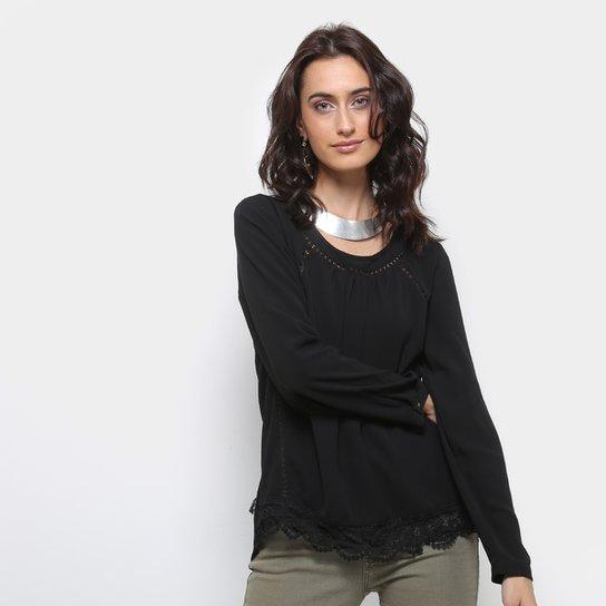 4c27ca700f Blusa Lily Fashion Renda Barra Manga Longa Feminina - Compre Agora ...