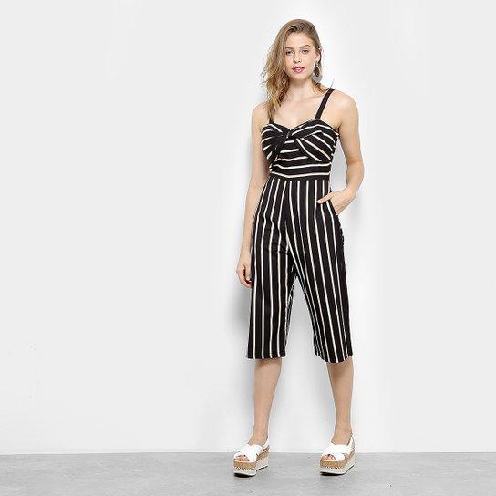 ae6c06679 Macacão Pantacourt Lily Fashion Listrado Nó Feminino - Compre Agora ...