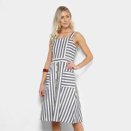 02f6594a42eca Vestido Lily Fashion Evasê Curto Listrado Bolsos E Botões - Compre ...