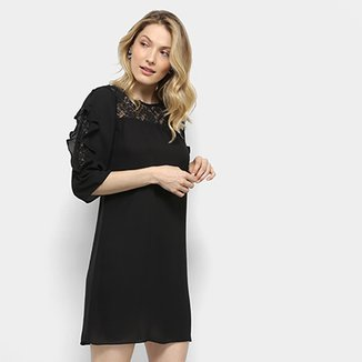b423bb527 Vestido Lily Fashion Curto Reto Babados Renda