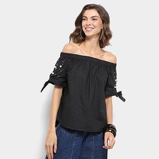 52c75adfe Blusa Ombro a Ombro Lily Fashion Pérolas Feminina