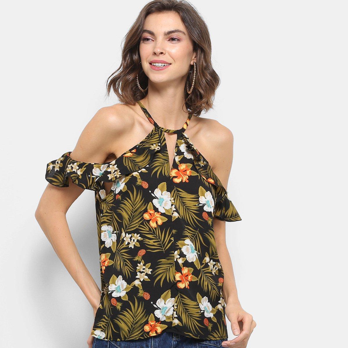 4d1e18ef73 Blusa Lily Fashion Open Shoulder Babado Floral Feminina