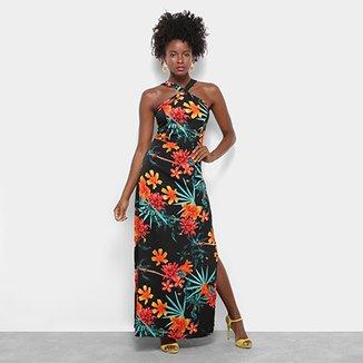 8813eccf1 Vestido Longo Lily Fashion Floral Alça Cruzada