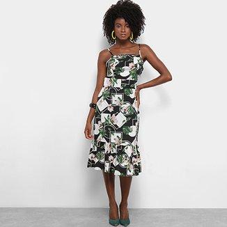 Vestido Lily Fashion Midi Evasê Estampa Floral Detalhe Babado 6ece40104b9