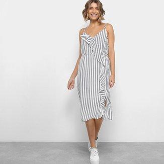 c3b3c83403360 Vestido Lily Fashion Midi Evasê Estampa Listrada Detalhe Babado