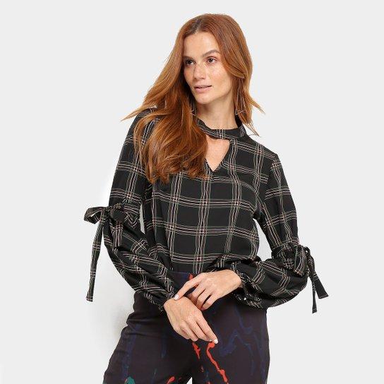 b8ea6d74c3 Blusa Lily Fashion Xadrez Manga Longa Feminina - Preto - Compre ...