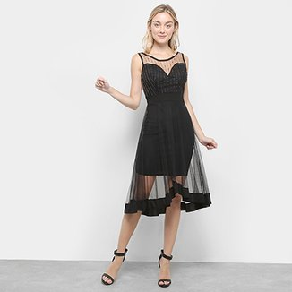 aedcd62f1 Vestido Lilly Fashion Evasê Midi Regata Transparência