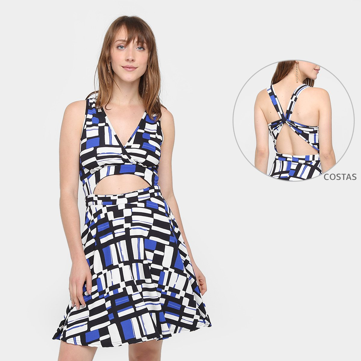 04ec07017 Vestido Top Moda Evasê Curto Estampado Feminino