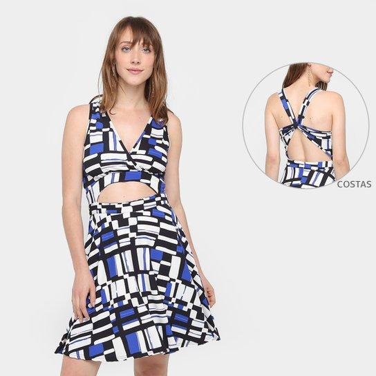 8586f8951 Vestido Top Moda Evasê Curto Estampado Feminino - Preto e Azul ...