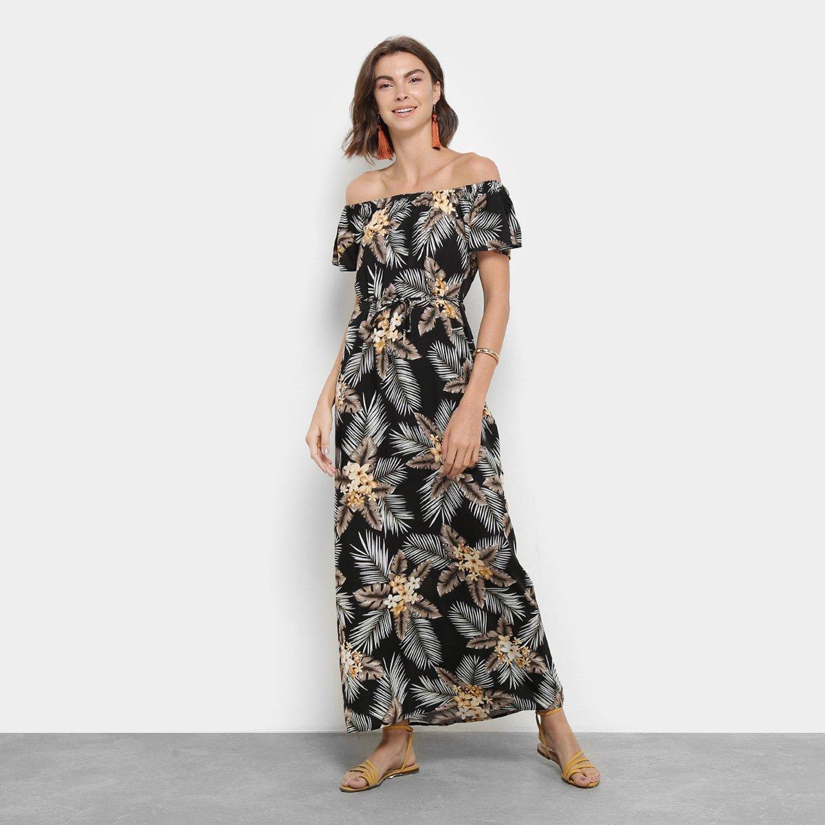 428f47a4e Vestido Longo Ombro a Ombro Top Modas Floral
