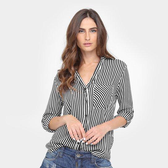 8e00c9e3f5 Camisa Aquamar Listrada Feminina - Preto
