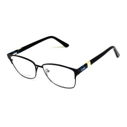 2ebdb7023da9b Armação De Óculos De Grau Cannes 77025 T 54 C Metal Feminino - Preto