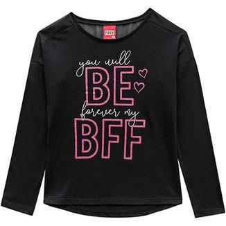 751d328e87 Blusa Infantil Kyly Manga Longa Estampa BFF Feminina