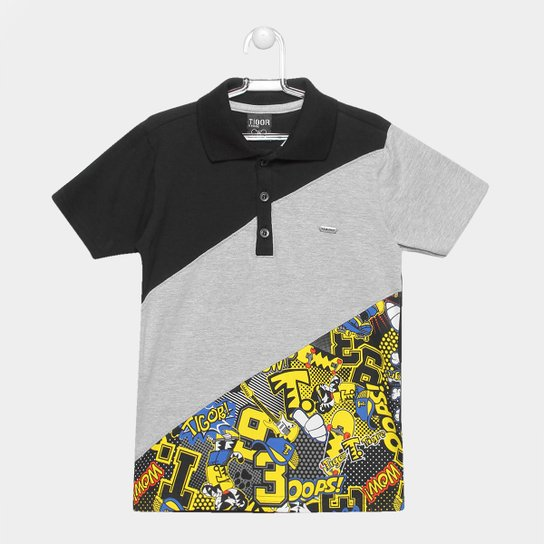 b22bf5695b Camisa Polo Infantil Tigor T. Tigre Estampada Masculina - Preto+Amarelo