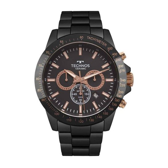 b7973d9957ec1 Relógio Technos Masculino Ceramic Saphire - Preto - Compre Agora ...