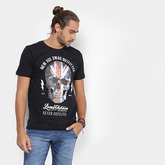 6241ca5d5f038 Camiseta Local Gola Careca Caveira Bandeira Masculina