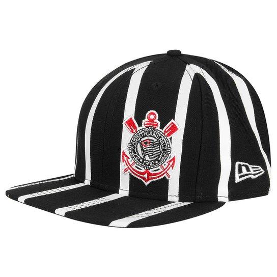 Boné Corinthians New Era Aba Reta 950 Of St Striped Masculino - Preto 070c420b921