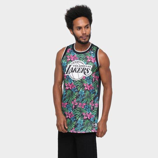 a9c44646f Camiseta Regata New Era NBA Black Floral Los Angeles Lakers - Compre ...