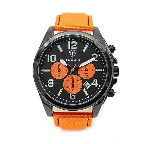 d0ba80caf79 Relógio Tuguir Analógico 5039 - Laranja e Preto - Compre Agora