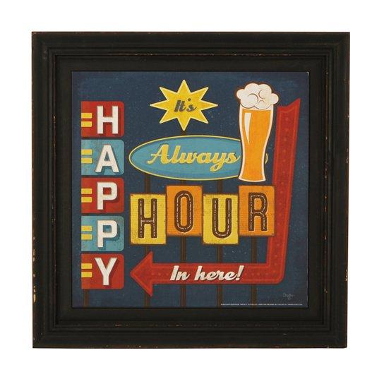 O Produto Quadro Decorativo Vintage Com Moldura Happy Hour