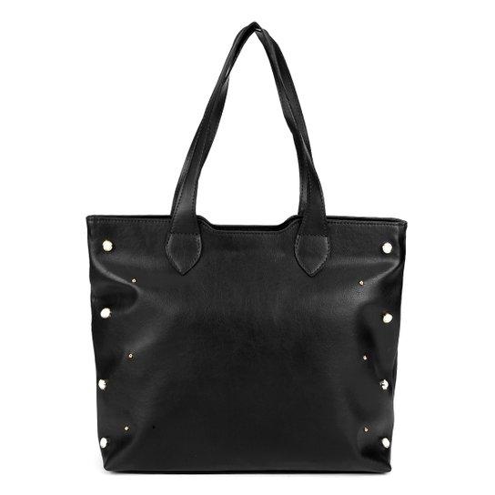Bolsa Dergham Tote Shopper Pérolas Feminina - Preto - Compre Agora ... 9d99e06d1972d