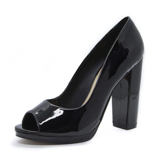 1a6f01ae8 Peep Toe Basic Shoes Inbox Salto Bloco em Verniz - Compre Agora ...