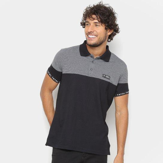 4ef8555c2b0e4 Camisa Polo Fatal Recorte Retilinea Masculina - Preto - Compre Agora ...