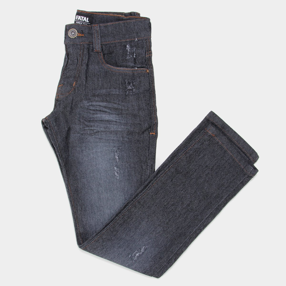 Calça Jeans Slim Juvenil Fatal Destroyed Masculina
