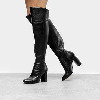 9e259dda6 Bota Couro Mezzo Punto Over The Knee Salto Grosso Feminina