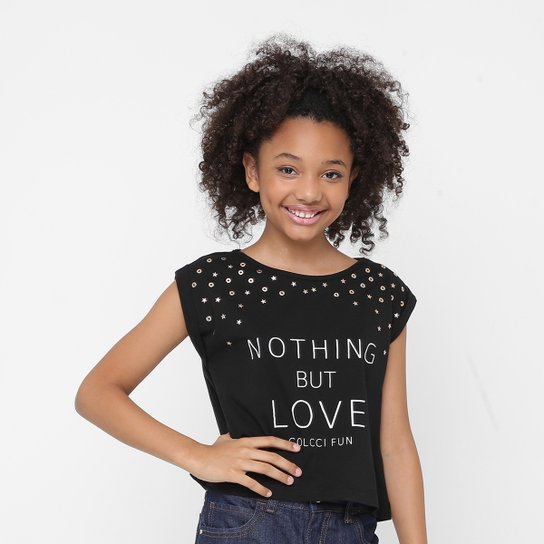 a84da36dd Camiseta Infantil Colcci Fun Nothing but Love Feminina - Preto ...