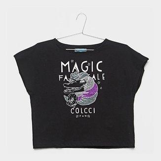 012401a47 Camiseta Infantil Colcci Fun Cropped Estampada Feminina