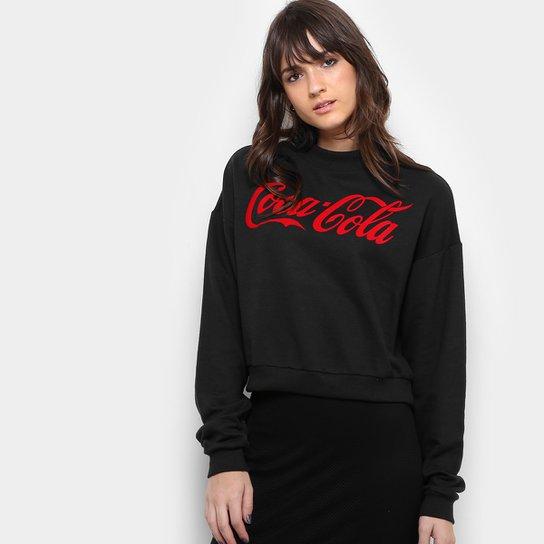 6aa4b5bb0a Blusa Moletom Coca-Cola Silk Aveludado Feminina - Preto