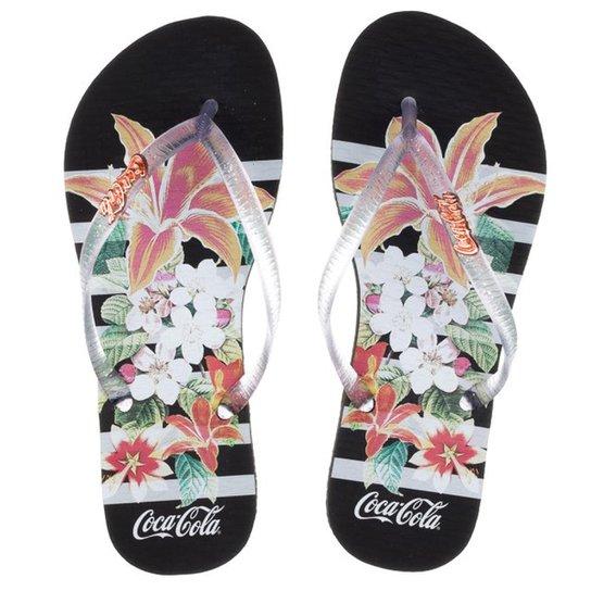 8ae19c5e3 Sandália Feminina Coca-Cola Flowers Stripes - Preto | Zattini