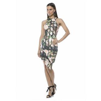 043cd36721 Vestido Moikana Assimétrico Rosas