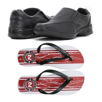 edd5c6f472 Kit Sapato Social Couro + Chinelo Prime Store Masculino