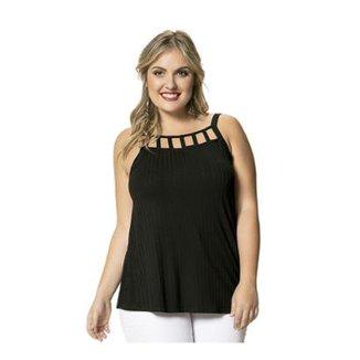 2c511e597 Blusa Canelado de Viscose com Detalhe Vazado Wee! Plus Size