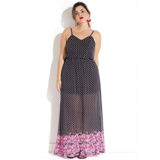2fe3f5ca2 Vestido Plus Size Longo Poá e Floral Quintess - Compre Agora