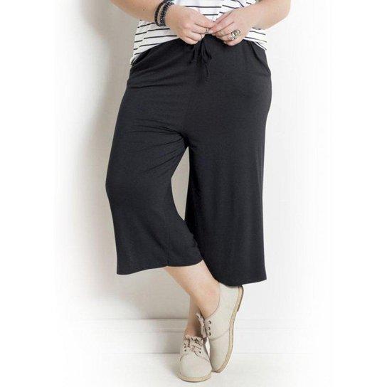 d400fcc0dbba5 Calça Pantacourt Preta Plus Size Quintess - Compre Agora