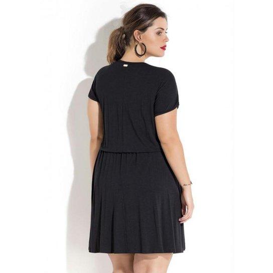 4c757486c Vestido Plus Size Preto com Renda e Aplique Quintess | Zattini