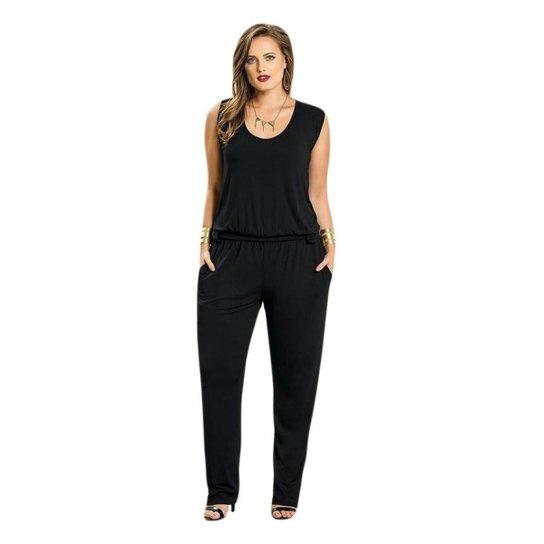 81e128253 Macacão Beline Plus Size Decote Redondo Quintess - Compre Agora ...