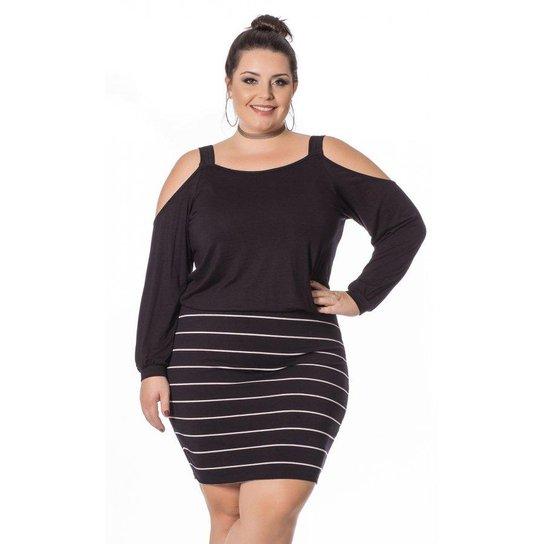 a317945c06 Vestido Miss Masy com Listras e Ombros Vazados Plus Size - Preto